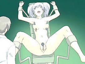 אחות Hentai הקשור בכיסא ועונש גינקולוגית